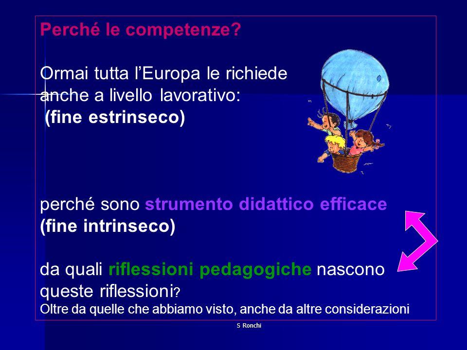 S Ronchi Perché le competenze? Ormai tutta lEuropa le richiede anche a livello lavorativo: (fine estrinseco) perché sono strumento didattico efficace