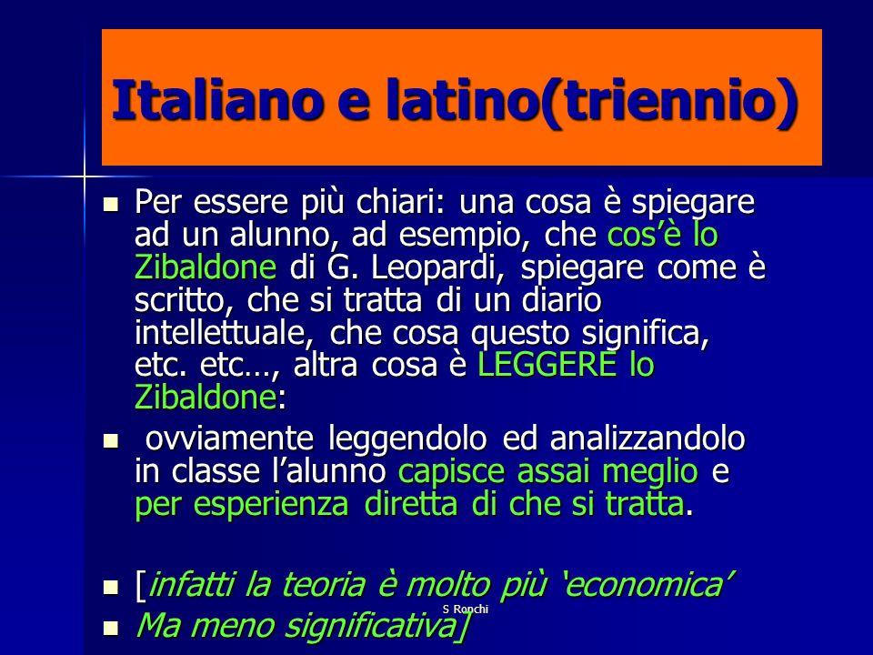 S Ronchi Italiano e latino(triennio) Per essere più chiari: una cosa è spiegare ad un alunno, ad esempio, che cosè lo Zibaldone di G. Leopardi, spiega
