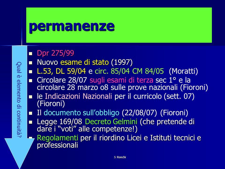 S Ronchi permanenze Dpr 275/99 Dpr 275/99 Nuovo esame di stato (1997) Nuovo esame di stato (1997) L.53, DL 59/04 e circ. 85/04 CM 84/05 (Moratti) Circ
