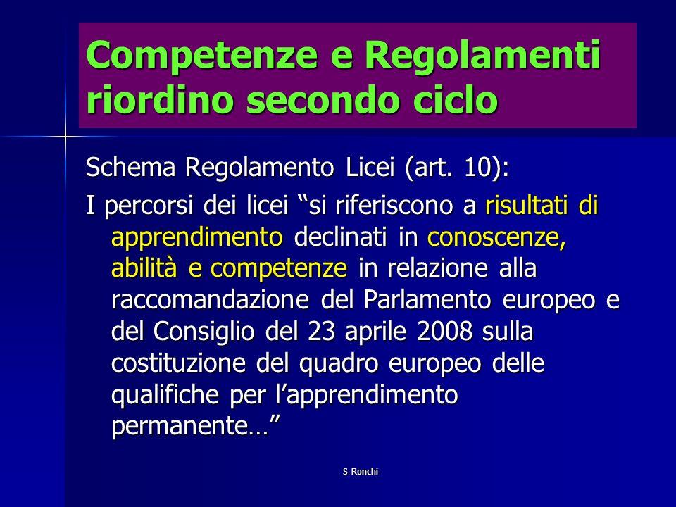S Ronchi Competenze e Regolamenti riordino secondo ciclo Schema Regolamento Licei (art. 10): I percorsi dei licei si riferiscono a risultati di appren