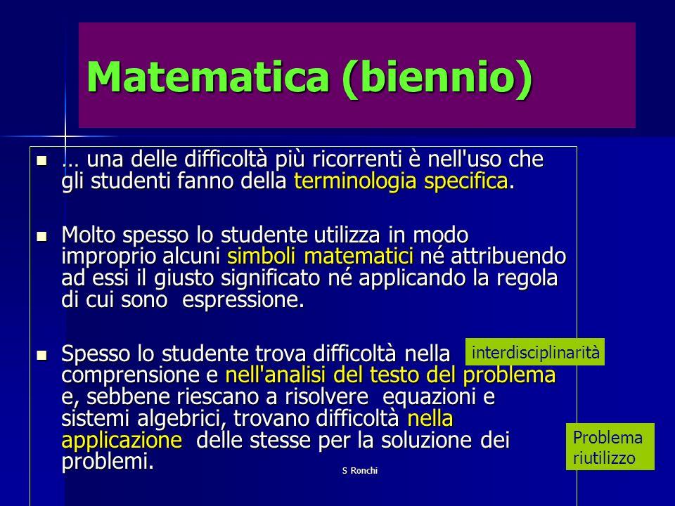 S Ronchi Matematica (biennio) … una delle difficoltà più ricorrenti è nell'uso che gli studenti fanno della terminologia specifica. … una delle diffic