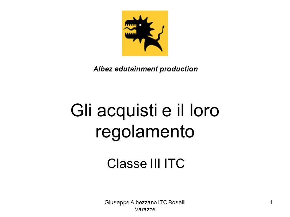 Giuseppe Albezzano ITC Boselli Varazze 2 Lacquisto dei fattori produttivi Rappresenta unoperazione di investimento che genera costi Classificazione dei fattori produttivi pluriennali = beni strumentali = fabbricati, impianti, automezzi, arredamento, attrezzature, ecc.