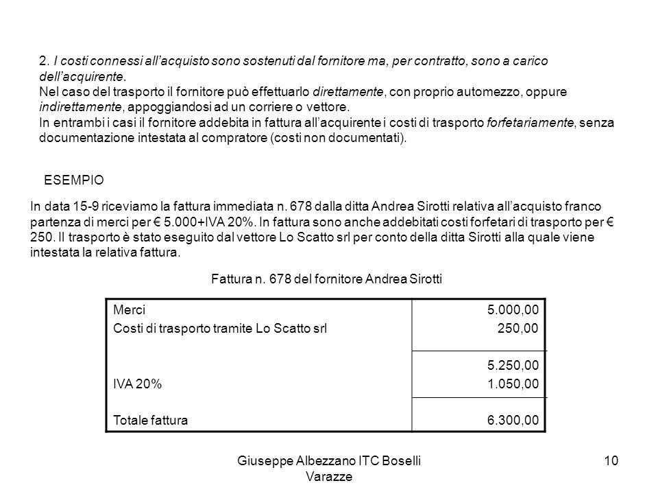 Giuseppe Albezzano ITC Boselli Varazze 10 2. I costi connessi allacquisto sono sostenuti dal fornitore ma, per contratto, sono a carico dellacquirente