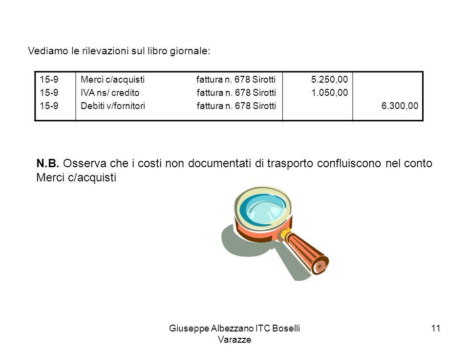 Giuseppe Albezzano ITC Boselli Varazze 11 Vediamo le rilevazioni sul libro giornale: 15-9 Merci c/acquisti fattura n. 678 Sirotti IVA ns/ credito fatt