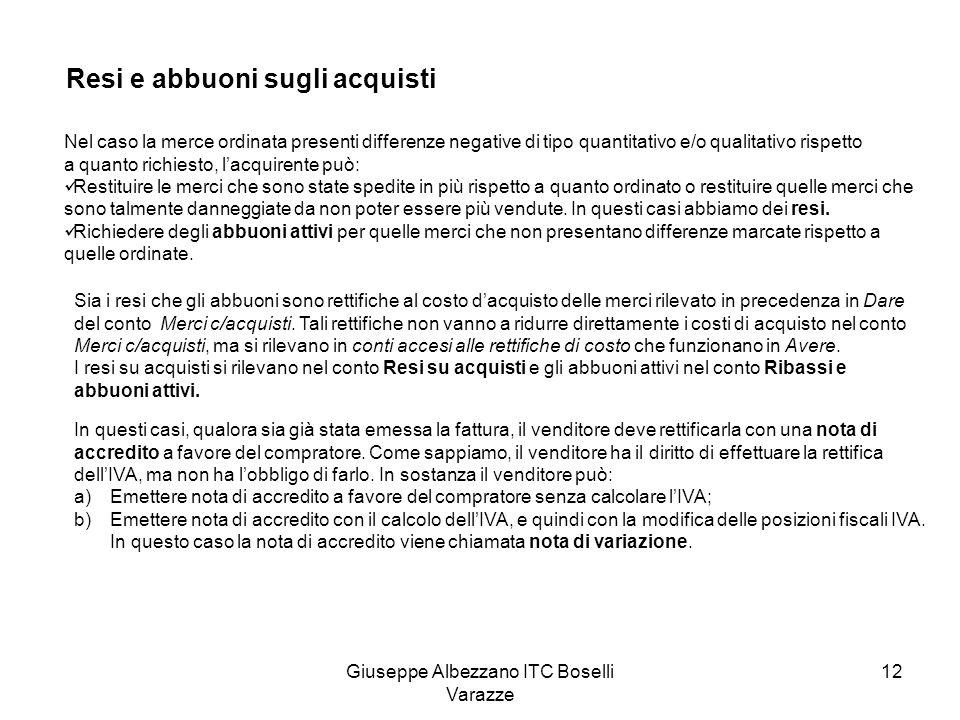 Giuseppe Albezzano ITC Boselli Varazze 12 Resi e abbuoni sugli acquisti Nel caso la merce ordinata presenti differenze negative di tipo quantitativo e