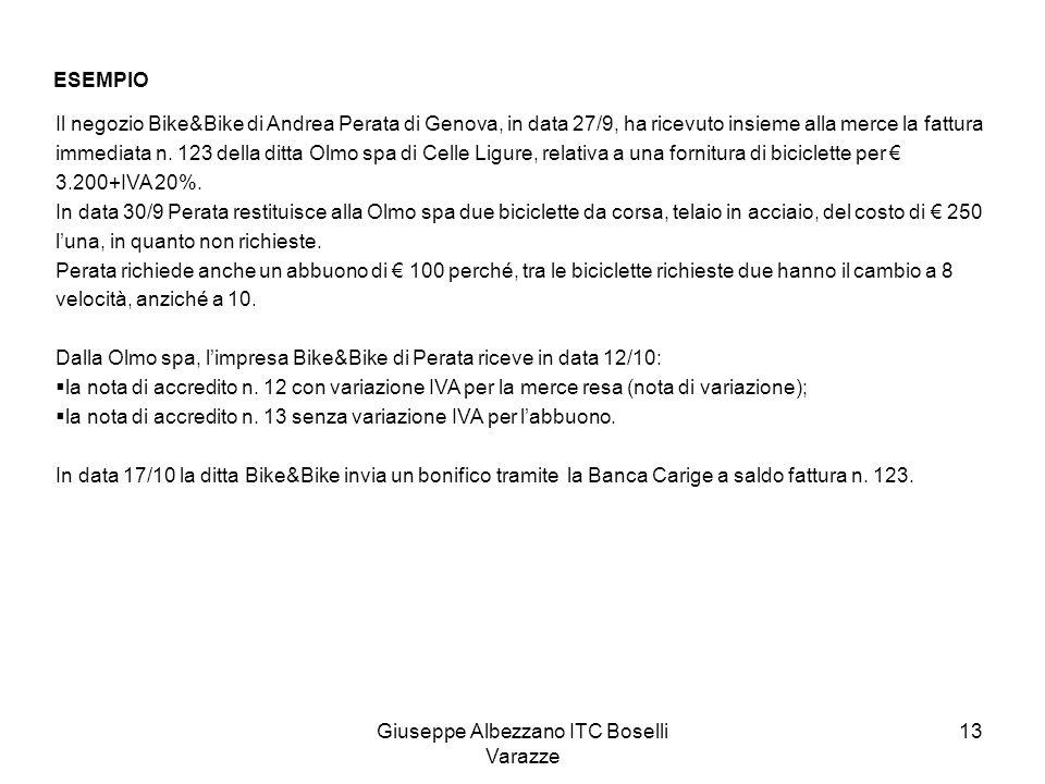 Giuseppe Albezzano ITC Boselli Varazze 13 ESEMPIO Il negozio Bike&Bike di Andrea Perata di Genova, in data 27/9, ha ricevuto insieme alla merce la fat