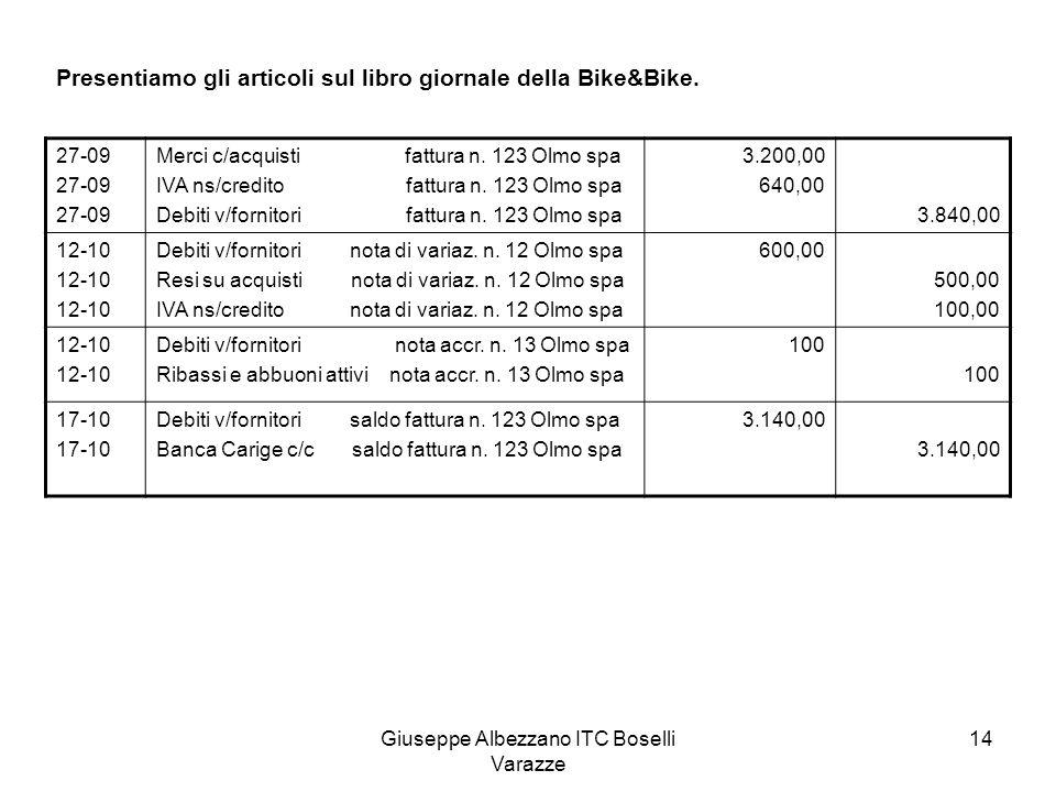 Giuseppe Albezzano ITC Boselli Varazze 14 Presentiamo gli articoli sul libro giornale della Bike&Bike. 27-09 Merci c/acquisti fattura n. 123 Olmo spa