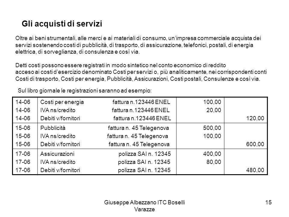 Giuseppe Albezzano ITC Boselli Varazze 15 Gli acquisti di servizi Oltre ai beni strumentali, alle merci e ai materiali di consumo, unimpresa commercia