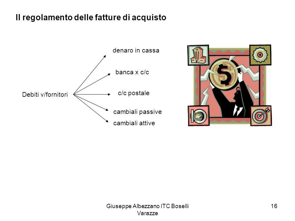 Giuseppe Albezzano ITC Boselli Varazze 16 Il regolamento delle fatture di acquisto Debiti v/fornitori denaro in cassa banca x c/c c/c postale cambiali