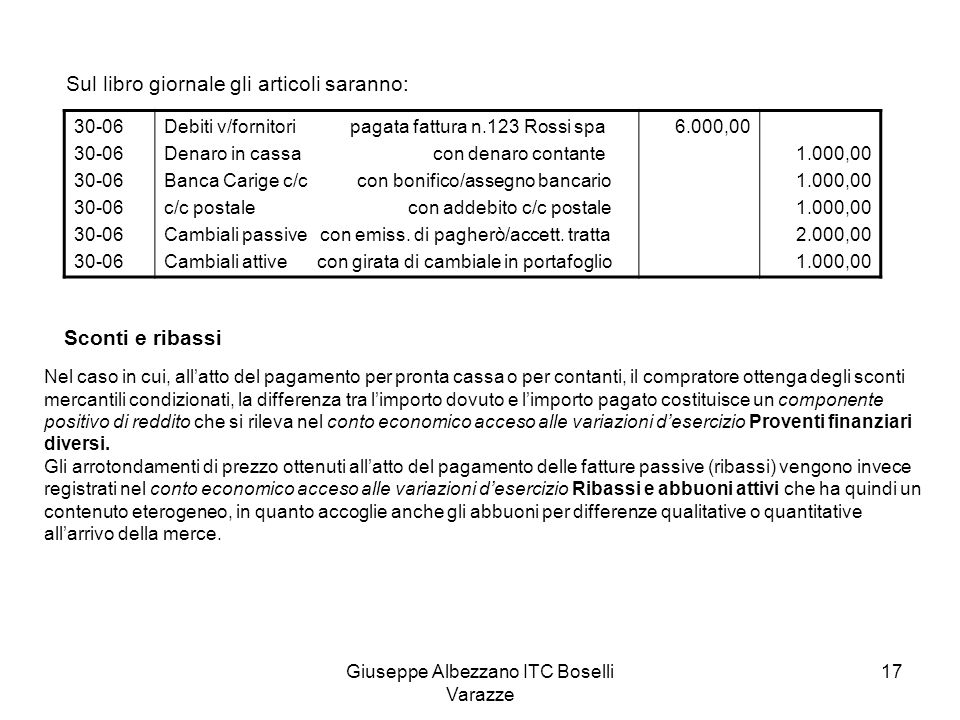 Giuseppe Albezzano ITC Boselli Varazze 17 Sul libro giornale gli articoli saranno: 30-06 Debiti v/fornitori pagata fattura n.123 Rossi spa Denaro in c