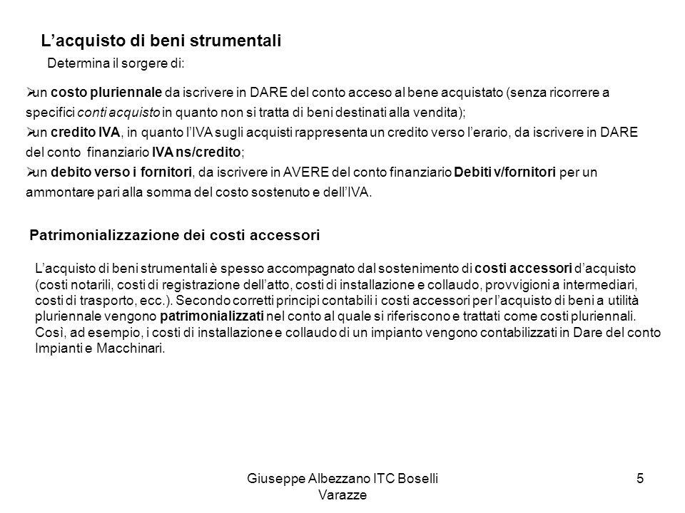 Giuseppe Albezzano ITC Boselli Varazze 5 Lacquisto di beni strumentali Determina il sorgere di: un costo pluriennale da iscrivere in DARE del conto ac