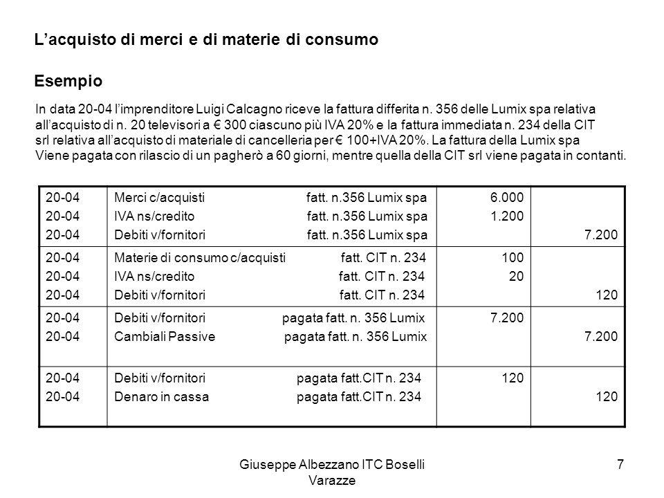 Giuseppe Albezzano ITC Boselli Varazze 7 Lacquisto di merci e di materie di consumo Esempio In data 20-04 limprenditore Luigi Calcagno riceve la fattu