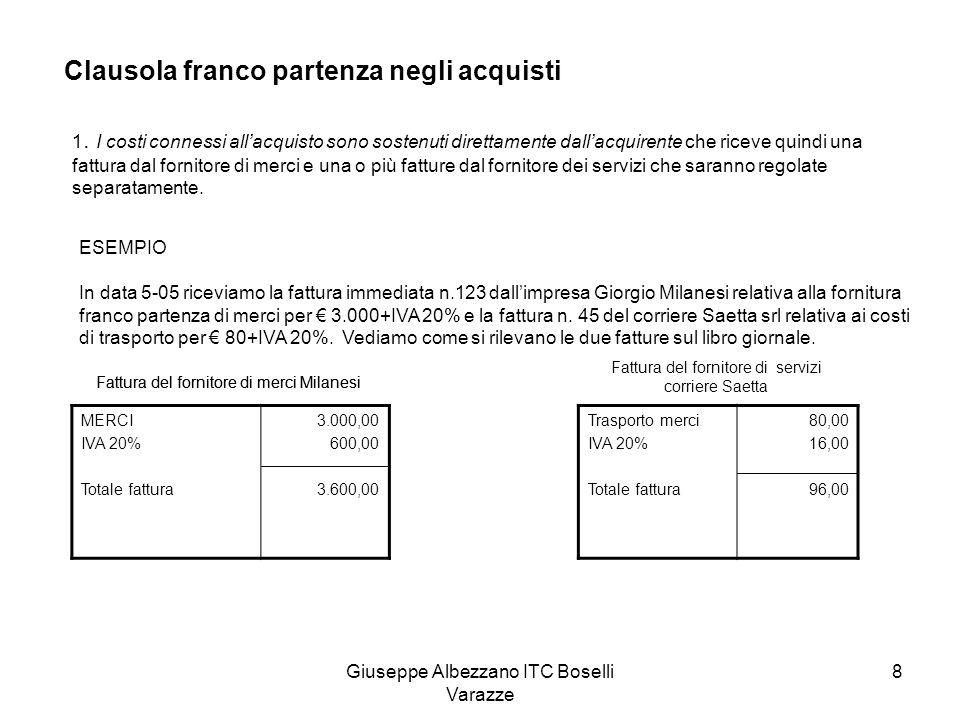 Giuseppe Albezzano ITC Boselli Varazze 9 Sul libro giornale le scritture saranno: 05-05 Merci c/acquisti fattura n.