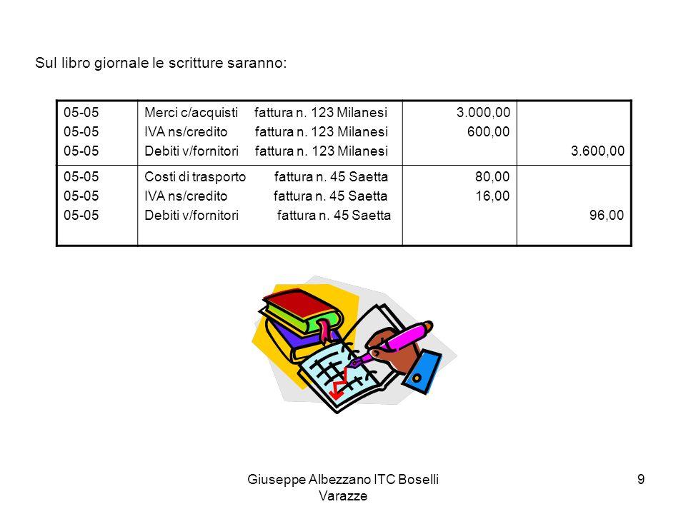 Giuseppe Albezzano ITC Boselli Varazze 9 Sul libro giornale le scritture saranno: 05-05 Merci c/acquisti fattura n. 123 Milanesi IVA ns/credito fattur