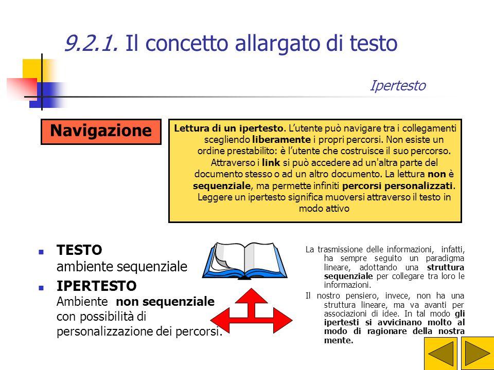 9.2.1. Il concetto allargato di testo Ipertesto Link Un testo che permette una lettura non lineare di un documento creato con un calcolatore. Un insie