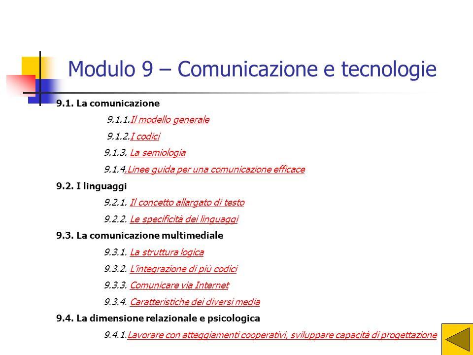 9.1.La comunicazione 9.1.1.Il modello generaleIl modello generale 9.1.2.I codiciI codici 9.1.3.