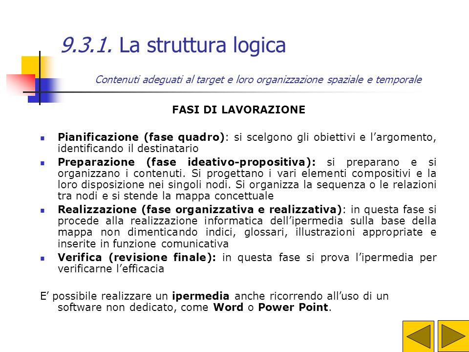 9.3.1. La struttura logica Abbiamo già detto che nella comunicazione è importante scegliere i contenuti adeguati al target e organizzarli nel modo mig