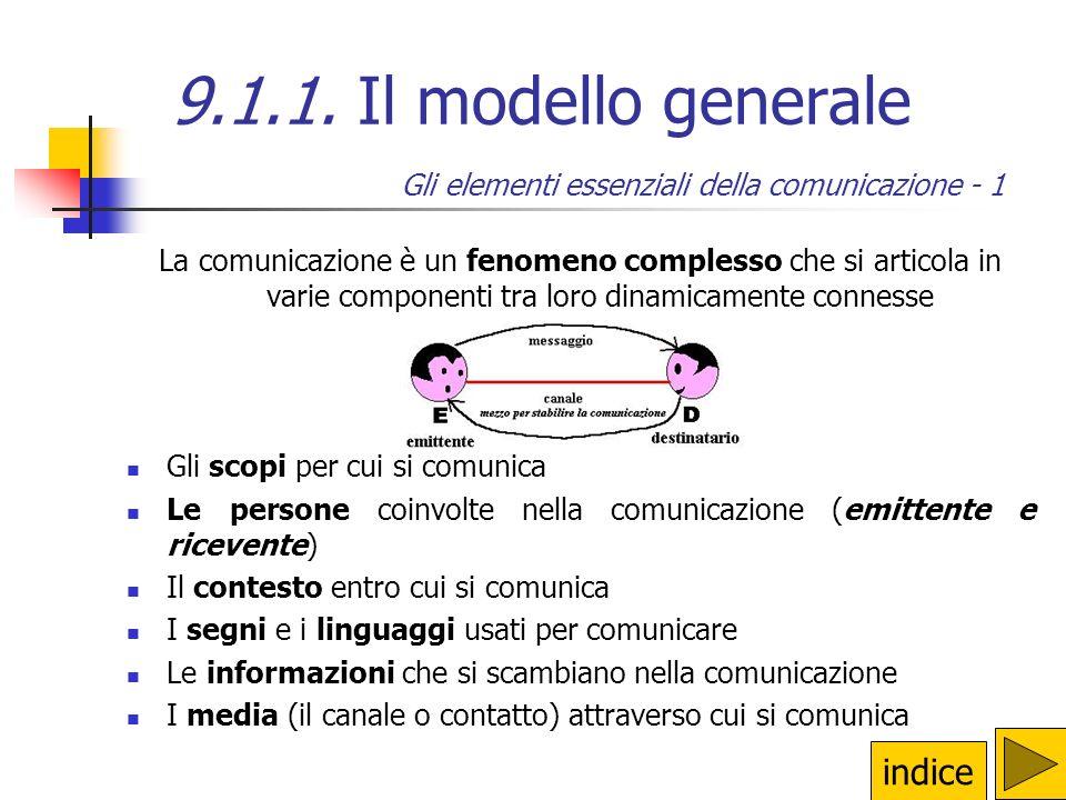 9.1. La comunicazione 9.1.1.Il modello generaleIl modello generale 9.1.2.I codiciI codici 9.1.3. La semiologiaLa semiologia 9.1.4.Linee guida per una