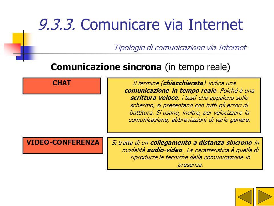 9.3.3. Comunicare via Internet Ma Internet non è solo una superstrada dellinformazione per arrivare velocemente a ogni libro e a ogni biblioteca del m