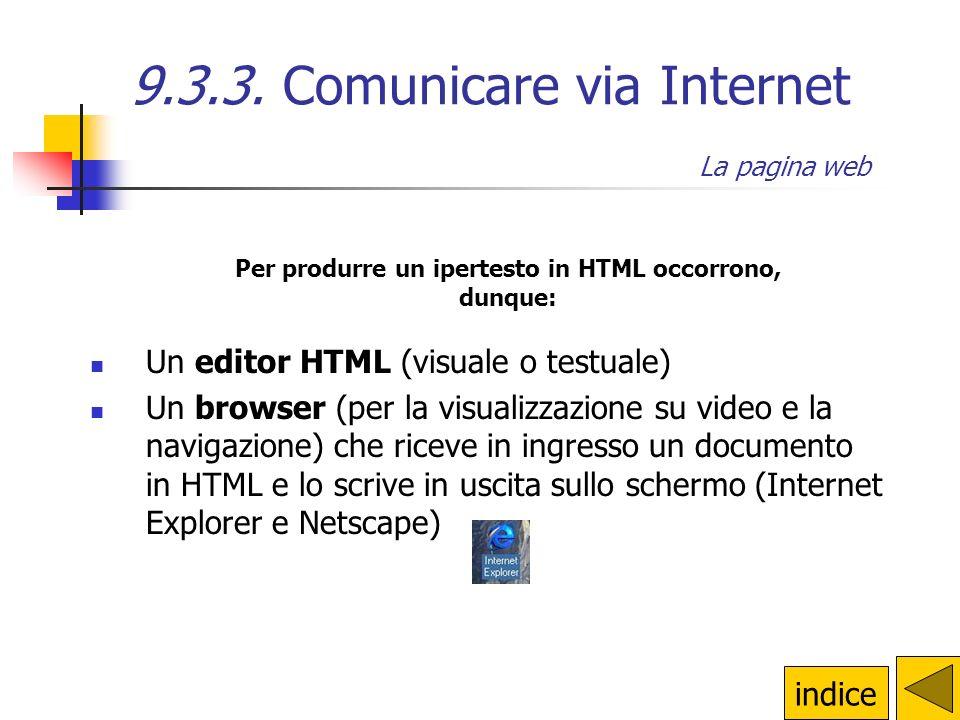 9.3.3. Comunicare via Internet La pagina web La pagina web: editor testuali editor visuali si scrive direttamente in HTML e si ha un controllo più dir