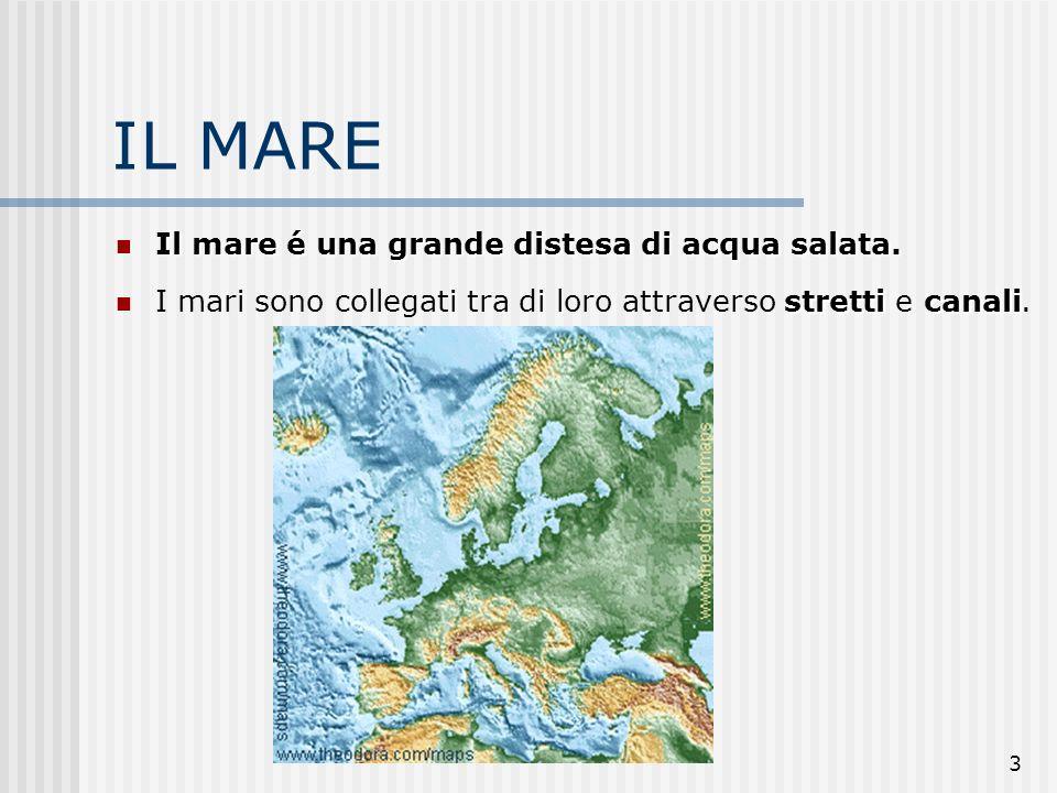3 IL MARE Il mare é una grande distesa di acqua salata. Il mare é una grande distesa di acqua salata. stretticanali I mari sono collegati tra di loro