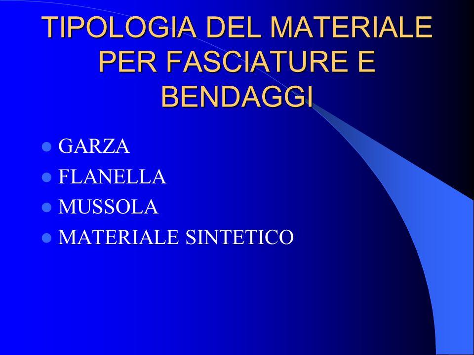 TIPOLOGIA DEL MATERIALE PER FASCIATURE E BENDAGGI GARZA FLANELLA MUSSOLA MATERIALE SINTETICO