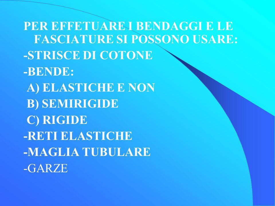 PER EFFETUARE I BENDAGGI E LE FASCIATURE SI POSSONO USARE: -STRISCE DI COTONE -BENDE: A) ELASTICHE E NON B) SEMIRIGIDE C) RIGIDE -RETI ELASTICHE -MAGLIA TUBULARE -GARZE