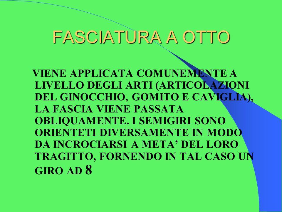 FASCIATURA A OTTO VIENE APPLICATA COMUNEMENTE A LIVELLO DEGLI ARTI (ARTICOLAZIONI DEL GINOCCHIO, GOMITO E CAVIGLIA), LA FASCIA VIENE PASSATA OBLIQUAMENTE.
