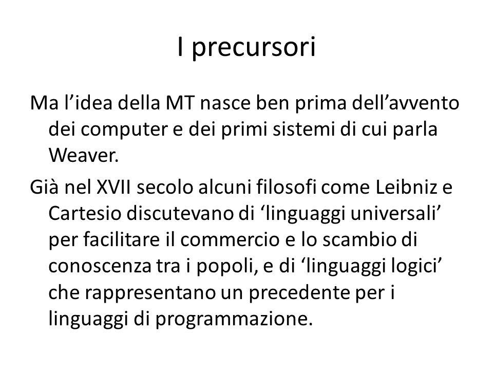 I precursori Ma lidea della MT nasce ben prima dellavvento dei computer e dei primi sistemi di cui parla Weaver. Già nel XVII secolo alcuni filosofi c