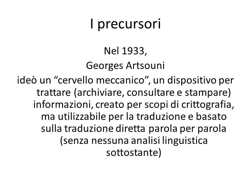 I precursori Nel 1933, Georges Artsouni ideò un cervello meccanico, un dispositivo per trattare (archiviare, consultare e stampare) informazioni, crea