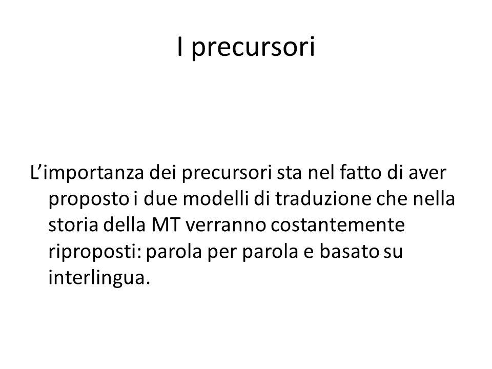 I precursori Limportanza dei precursori sta nel fatto di aver proposto i due modelli di traduzione che nella storia della MT verranno costantemente ri