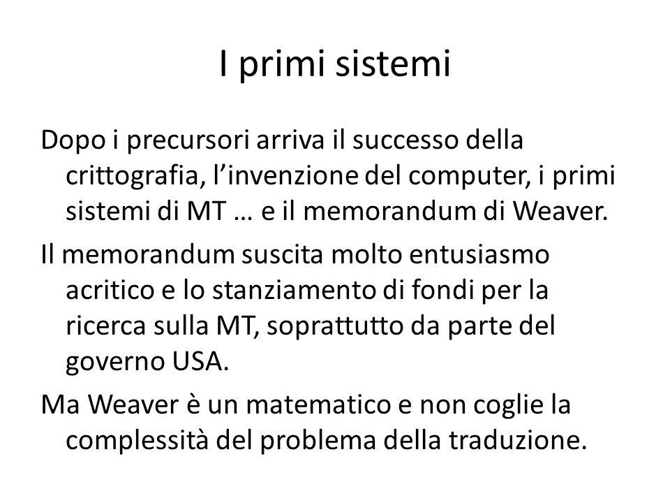 I primi sistemi Dopo i precursori arriva il successo della crittografia, linvenzione del computer, i primi sistemi di MT … e il memorandum di Weaver.