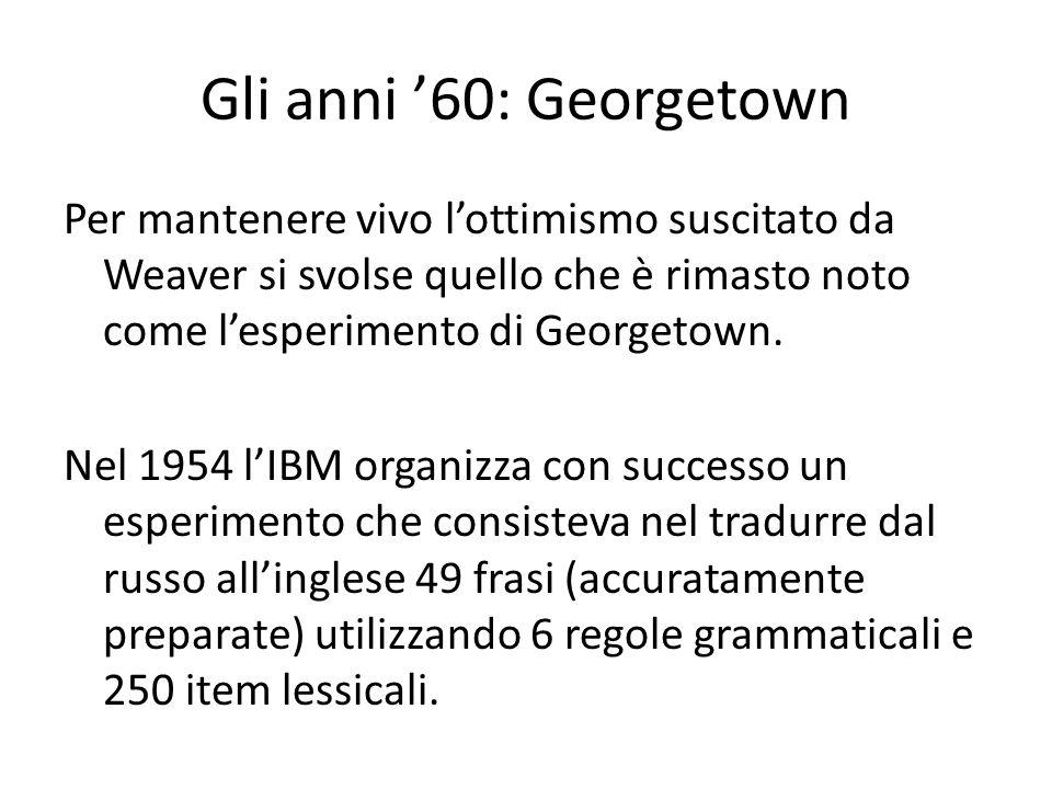 Gli anni 60: Georgetown Per mantenere vivo lottimismo suscitato da Weaver si svolse quello che è rimasto noto come lesperimento di Georgetown. Nel 195