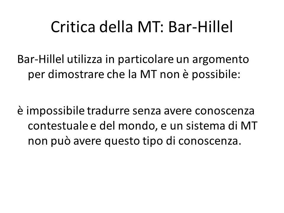 Critica della MT: Bar-Hillel Bar-Hillel utilizza in particolare un argomento per dimostrare che la MT non è possibile: è impossibile tradurre senza av