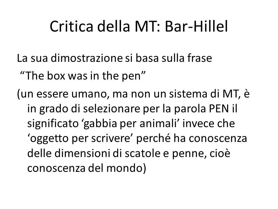 Critica della MT: Bar-Hillel La sua dimostrazione si basa sulla frase The box was in the pen (un essere umano, ma non un sistema di MT, è in grado di
