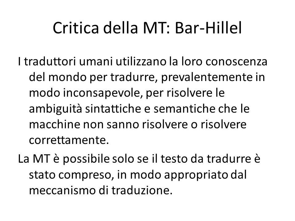 Critica della MT: Bar-Hillel I traduttori umani utilizzano la loro conoscenza del mondo per tradurre, prevalentemente in modo inconsapevole, per risol
