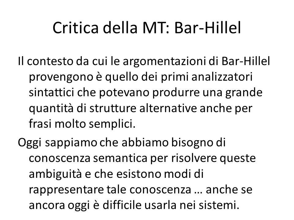 Critica della MT: Bar-Hillel Il contesto da cui le argomentazioni di Bar-Hillel provengono è quello dei primi analizzatori sintattici che potevano pro