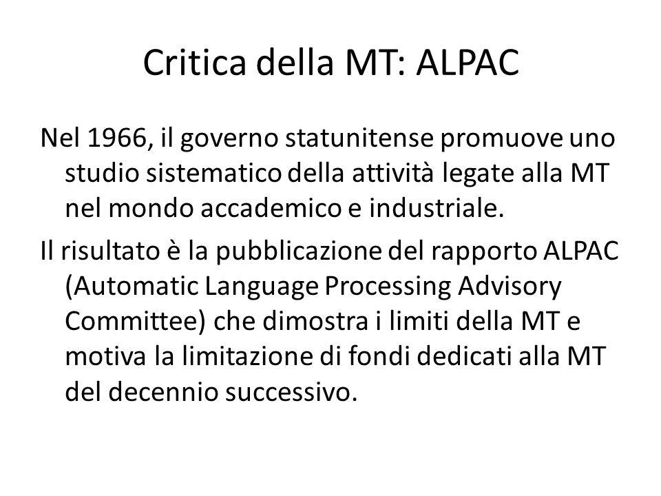 Critica della MT: ALPAC Nel 1966, il governo statunitense promuove uno studio sistematico della attività legate alla MT nel mondo accademico e industr
