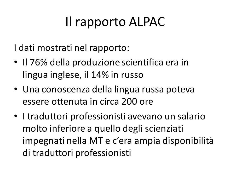 Il rapporto ALPAC I dati mostrati nel rapporto: Il 76% della produzione scientifica era in lingua inglese, il 14% in russo Una conoscenza della lingua