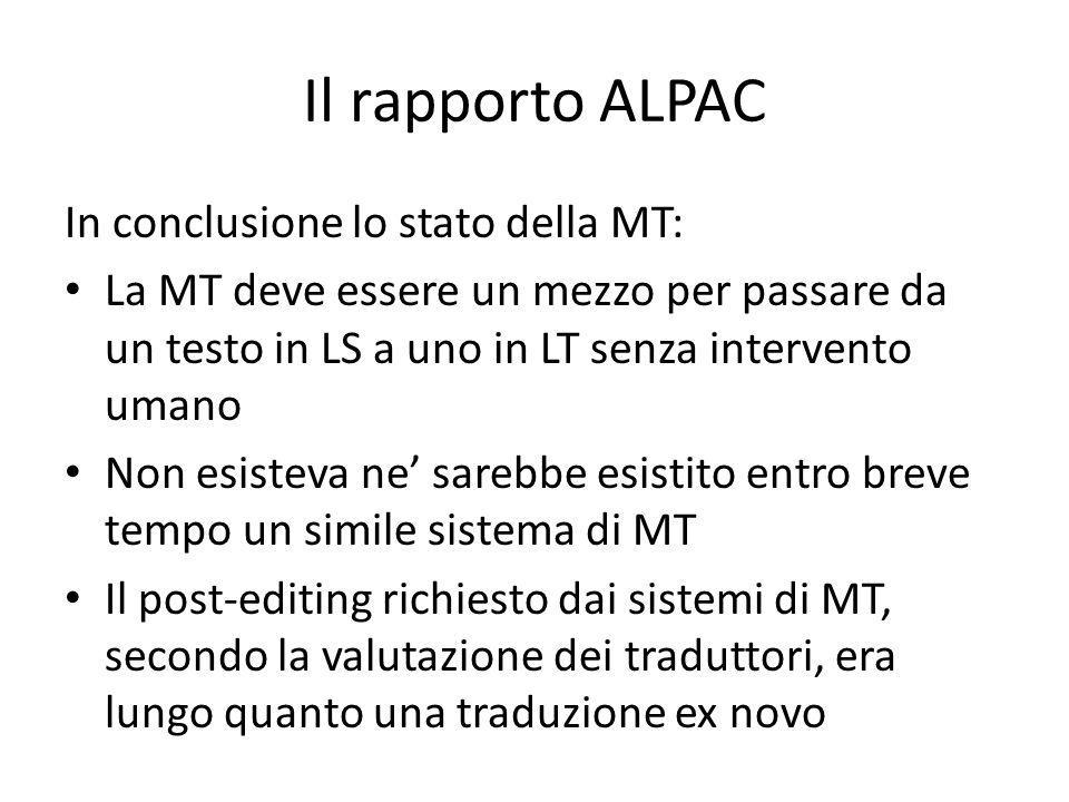 Il rapporto ALPAC In conclusione lo stato della MT: La MT deve essere un mezzo per passare da un testo in LS a uno in LT senza intervento umano Non es