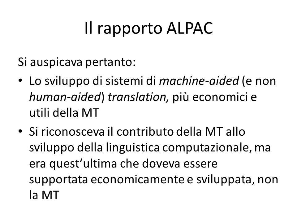 Il rapporto ALPAC Si auspicava pertanto: Lo sviluppo di sistemi di machine-aided (e non human-aided) translation, più economici e utili della MT Si ri