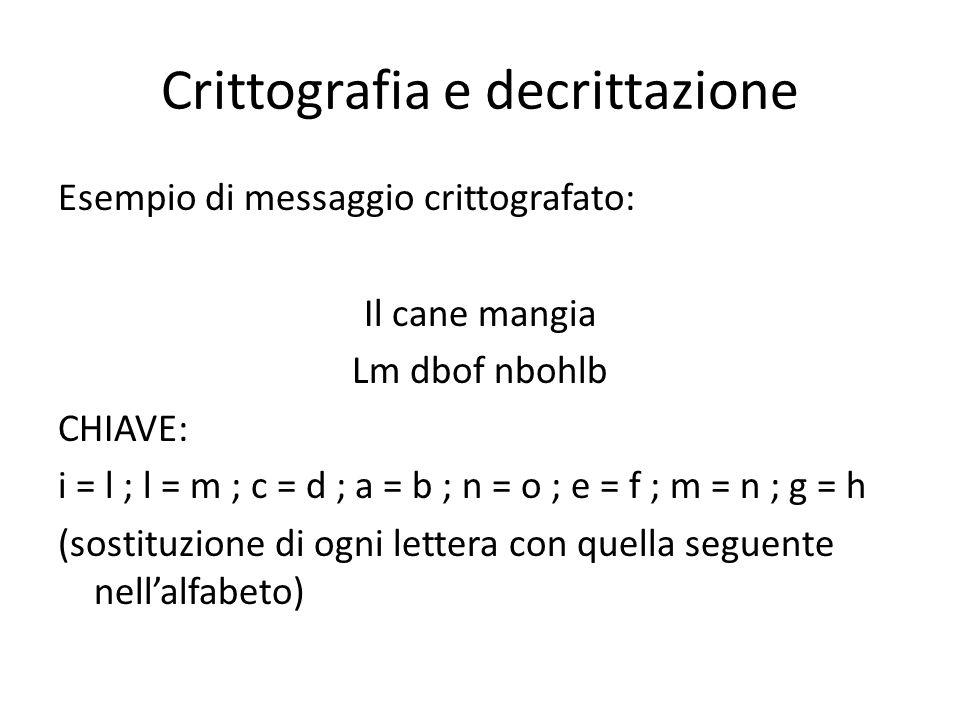 Crittografia e decrittazione Esempio di messaggio crittografato: Il cane mangia Lm dbof nbohlb CHIAVE: i = l ; l = m ; c = d ; a = b ; n = o ; e = f ;