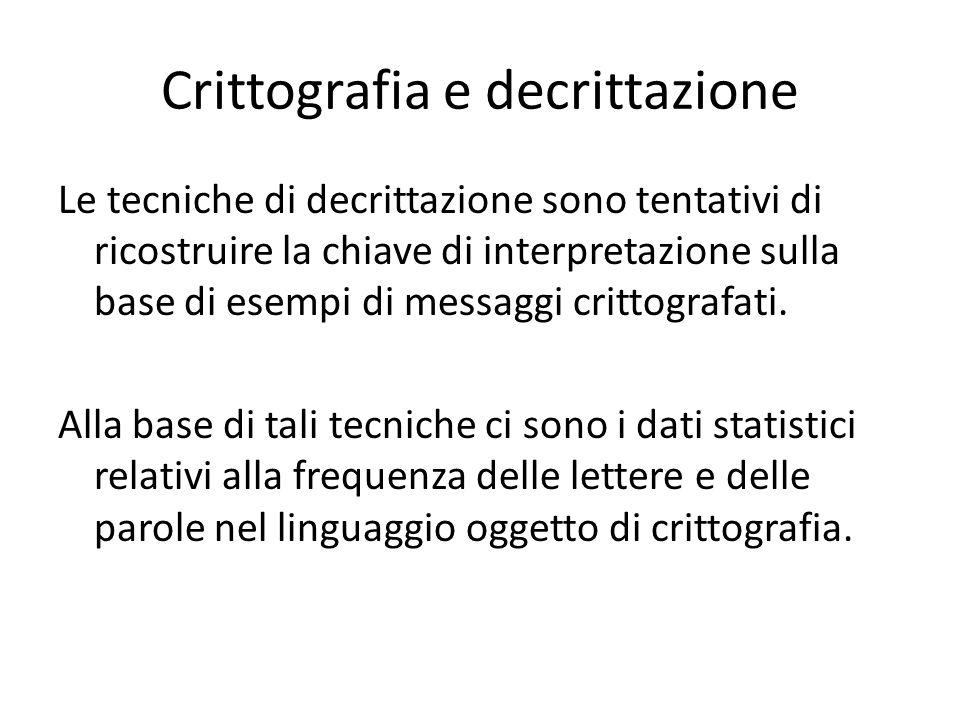 Crittografia e decrittazione Le tecniche di decrittazione sono tentativi di ricostruire la chiave di interpretazione sulla base di esempi di messaggi