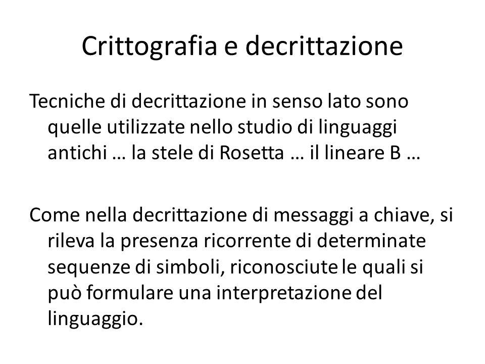 Crittografia e decrittazione Tecniche di decrittazione in senso lato sono quelle utilizzate nello studio di linguaggi antichi … la stele di Rosetta …