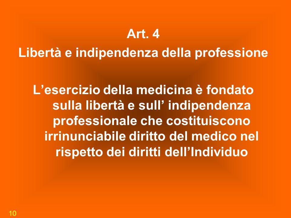 10 Art. 4 Libertà e indipendenza della professione Lesercizio della medicina è fondato sulla libertà e sull indipendenza professionale che costituisco