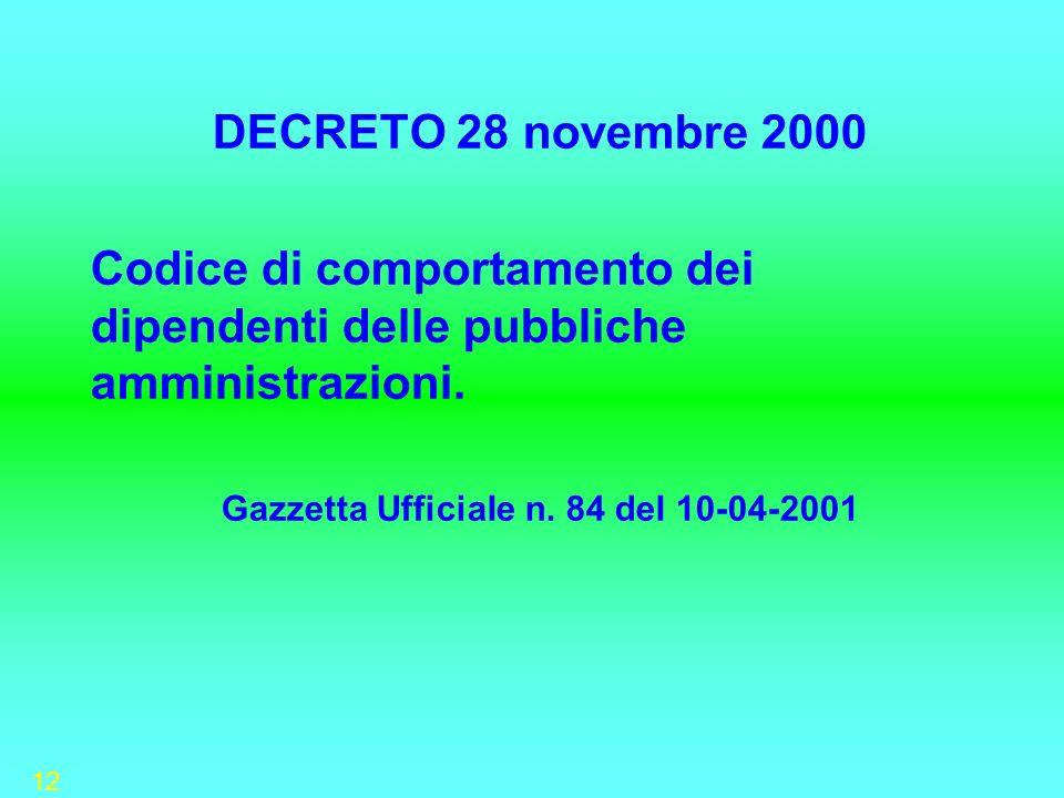 12 DECRETO 28 novembre 2000 Codice di comportamento dei dipendenti delle pubbliche amministrazioni. Gazzetta UfficiaIe n. 84 deI 10-04-2001