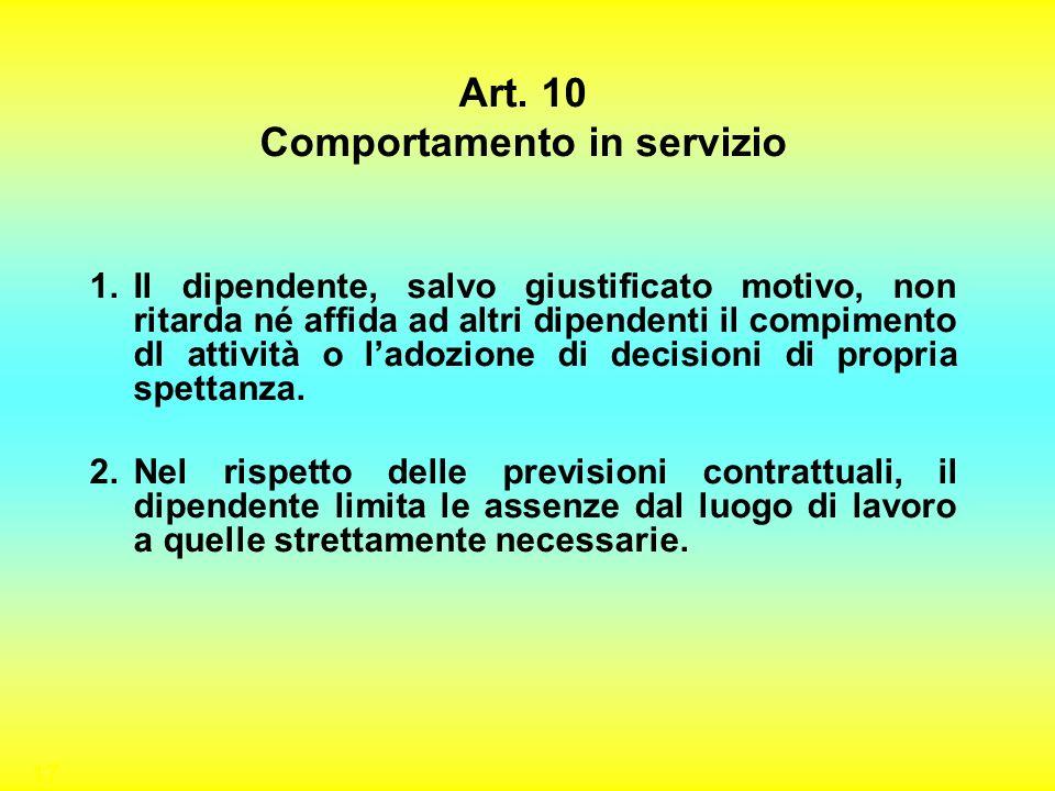17 Art. 10 Comportamento in servizio 1.Il dipendente, salvo giustificato motivo, non ritarda né affida ad altri dipendenti il compimento dl attività o