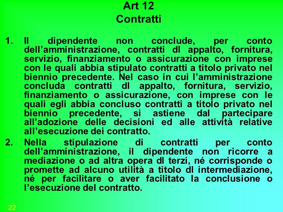 22 Art 12 Contratti 1.Il dipendente non conclude, per conto dellamministrazione, contratti dl appalto, fornitura, servizio, finanziamento o assicurazi