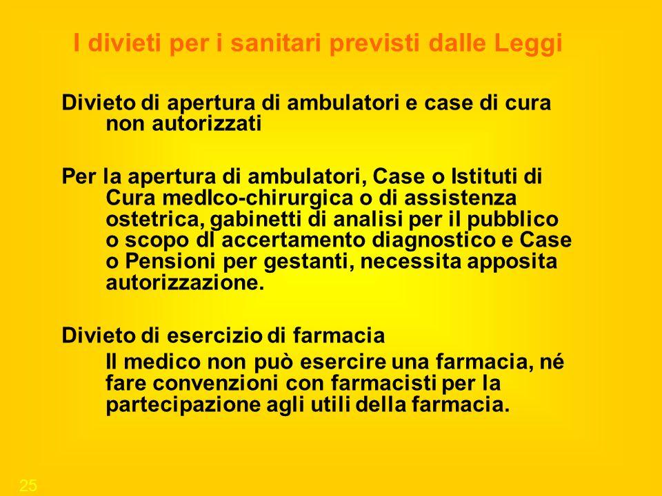 25 I divieti per i sanitari previsti dalle Leggi Divieto di apertura di ambulatori e case di cura non autorizzati Per la apertura di ambulatori, Case