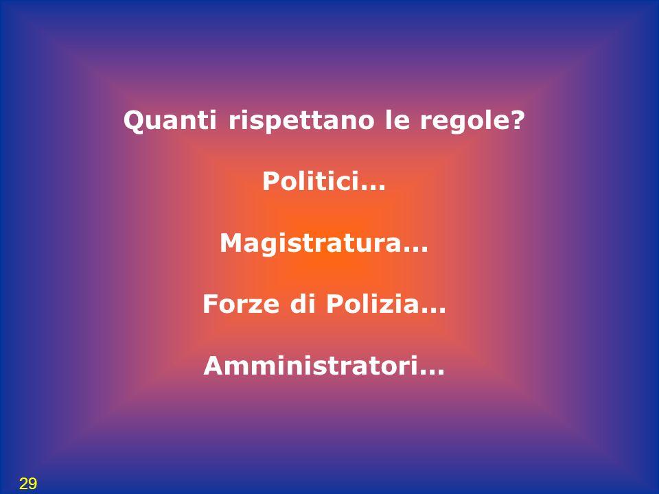 29 Quanti rispettano le regole? Politici... Magistratura... Forze di Polizia... Amministratori...